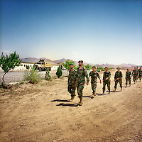 Soldiers in the Afghan National Army training camp of Camp Zafar in Herat province.