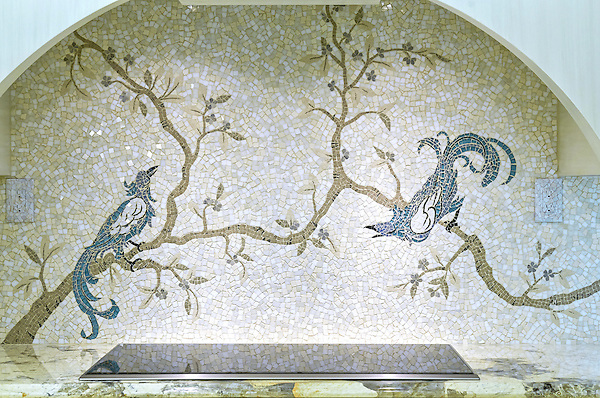 Birds &amp; Branches, a hand cut stone mosaic, shown in Thassos, Calacatta, Socorro Gray, Jura Grey, Montevideo, Ivory cream, Nero Marquina, Blue Macauba, and Oceanside glass.<br /> -photo coutesy of Walker Zanger,  Karen Claffey-Koller, Interior Design. John Dyehouse, Architect. Chris Carlson, Contractor.