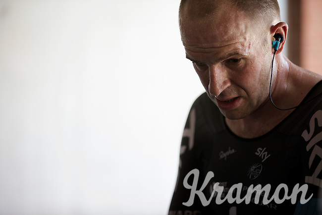 an exhausted Ian Stannard (GBR/Sky) after finishing<br /> <br /> Elite Men&rsquo;s Team Time Trial<br /> UCI Road World  Championships Richmond 2015