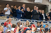 United States President Donald J. Trump participates in a moment to salute the military during game five of the World Series at Nationals Park in Washington DC on October 27, 2019.  The Washington Nationals and Houston Astros are tied at two games going into tonight's game. Pictured with the president include US Representative John Ratcliffe (Republican of Texas), US Senator David Perdue (Republican of Georgia), US Representative Andy Biggs (Republican of Arizona), US Representative Mark Meadows (Republican of North Carolina), and US Senator Lindsey Graham (Republican of South Carolina).<br /> Credit: Chris Kleponis / Pool via CNP