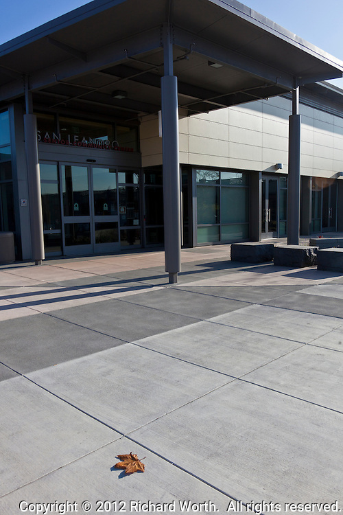 A single brown leaf adorns the concrete geometry at the entrance to a city community center.