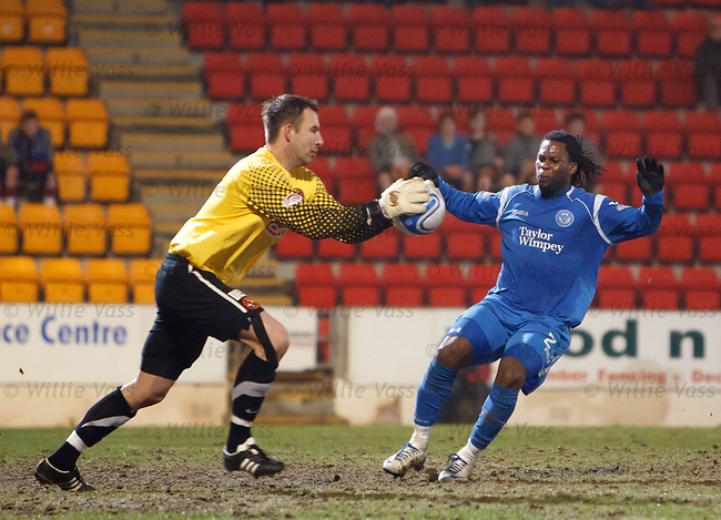 Collin Samuel foiled by keeper Dusan Pernis