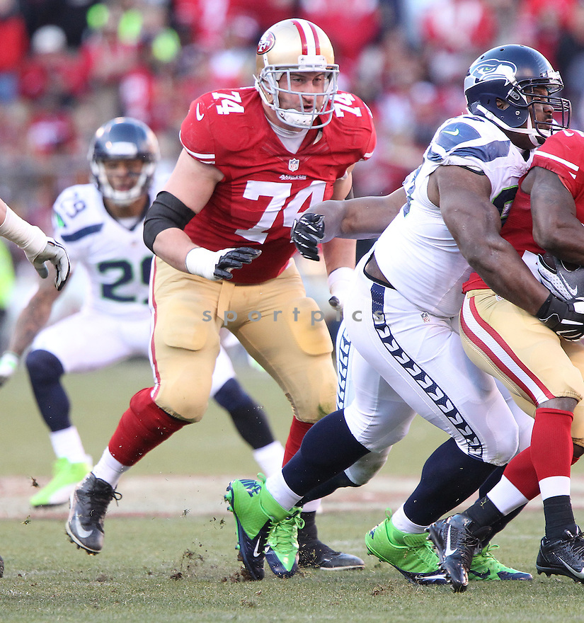 San Francisco 49ers Joe Staley (74) during a game against the Seattle Seahawks on December 8, 2013 at Candlestick Stadium in San Francisco, CA. The 49ers beat the Seahawks 19-17.