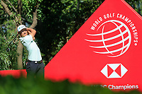 Haotong Li (CHN) on the 9th tee during the final round at the WGC HSBC Champions 2018, Sheshan Golf CLub, Shanghai, China. 28/10/2018.<br /> Picture Fran Caffrey / Golffile.ie<br /> <br /> All photo usage must carry mandatory copyright credit (&copy; Golffile | Fran Caffrey)