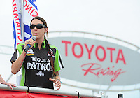 Jun. 29, 2012; Joliet, IL, USA: NHRA funny car driver Alexis DeJoria during qualifying for the Route 66 Nationals at Route 66 Raceway. Mandatory Credit: Mark J. Rebilas-