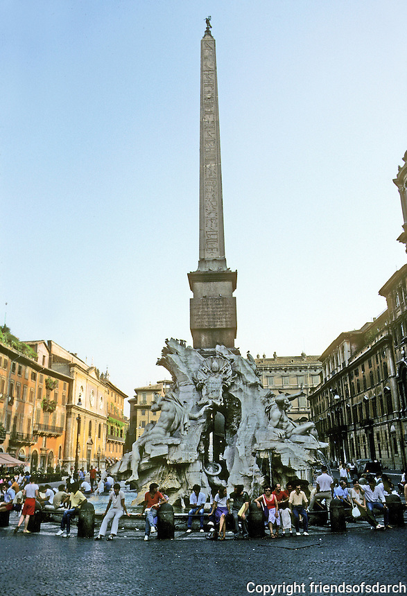 Italy: Rome--Bernini's Fountain at the Four Rivers, 1651. (Figures represent four rivers symbolizing four corners of the earth.)  Photo '83.