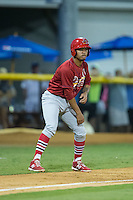 Edmundo Sosa (19) of the Johnson City Cardinals takes his lead off of third base against the Burlington Royals at Burlington Athletic Park on August 22, 2015 in Burlington, North Carolina.  The Cardinals defeated the Royals 9-3. (Brian Westerholt/Four Seam Images)