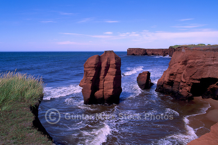 Ile de Cap-aux-Meules, Iles de la Madeleine, Quebec, Canada - Coastline at La Belle Anse along Gulf of St. Lawrence - (Beautiful Cove, Grindstone Island, Magdalen Islands)