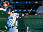 24 August 2019: Vermont Lake Monsters infielder Logan Davidson takes warm-up swings on deck during a game against the Lowell Spinners at Centennial Field in Burlington, Vermont. The Lake Monsters fell to the Spinners 3-2 in NY Penn League action. Mandatory Credit: Ed Wolfstein Photo *** RAW (NEF) Image File Available ***