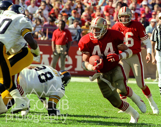 San Francisco 49ers vs Pittsburg Steelers at Candlestick Park Sunday, October 21, 1990..49er running back Tom Rathman (44).Caption ..