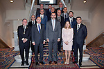 Senate President, Pio Garcia-Escudero (2L), Prince Felipe of Spain (C) and Development Minister, Ana Pastor, pose during the Spanish Architects Superior Board Awards ceremony at Senate Palace in Madrid, Spain. December 03, 2013. (ALTERPHOTOS/Victor Blanco)