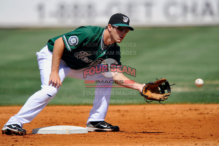 Dustin Ackley #55 of the West Tenn Diamond Jaxx in action versus the Mississippi Braves at Pringles Park April 18, 2010 in Jackson, Tennessee. (Photo by Grant Halverson / Four Seam Images)