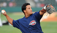 July 21, 2008: Catcher Juan Apodaca (26) of the Greenville Drive, Class A affiliate of the Boston Red Sox, in a game against the Hagerstown Suns at Fluor Field at the West End in Greenville, S.C. Photo by:  Tom Priddy/Four Seam Images