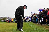 Shane Lowry takes his 2nd shot from the rough on the 18th hole during the Final Round of the 3 Irish Open on 17th May 2009 (Photo by Eoin Clarke/GOLFFILE)