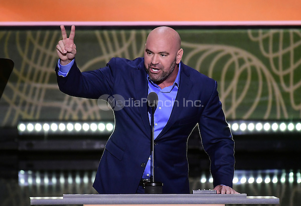 Dana White, President of the UFC, makes remarks at the 2016 Republican National Convention held at the Quicken Loans Arena in Cleveland, Ohio on Tuesday, July 19, 2016.<br /> Credit: Ron Sachs / CNP/MediaPunch<br /> (RESTRICTION: NO New York or New Jersey Newspapers or newspapers within a 75 mile radius of New York City)