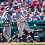 30 July 2017: Colorado Rockies catcher Ryan Hanigan in action against the Washington Nationals at Nationals Park in Washington, DC. The Rockies defeated the Nationals 10-6 in the second game of their 3-game weekend series. Mandatory Credit: Ed Wolfstein Photo *** RAW (NEF) Image File Available ***