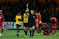 Ref Trevor Kettle sends off Reggie Lambie during Cambridge United vs Leyton Orient, Sky Bet EFL League 2 Football at Abbey Stadium on 21st December 2019