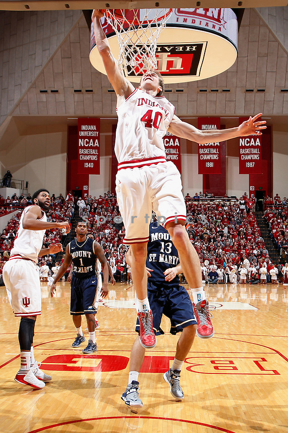BLOOMINGTON, IN - DECEMBER 19: Cody Zeller #40 of the Indiana Hoosiers goes up for a dunk against the Mount St. Mary's Mountaineers during the game at Assembly Hall on December 19, 2012 in Bloomington, Indiana. The Hoosiers won 93-54. Cody Zeller