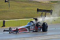 Sept. 22, 2012; Ennis, TX, USA: NHRA top fuel dragster driver David Grubnic during qualifying for the Fall Nationals at the Texas Motorplex. Mandatory Credit: Mark J. Rebilas-