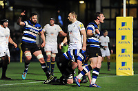 Chris Cook of Bath Rugby celebrates a try from team-mate Paul Grant. Aviva Premiership match, between Worcester Warriors and Bath Rugby on January 5, 2018 at Sixways Stadium in Worcester, England. Photo by: Patrick Khachfe / Onside Images
