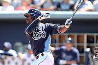 Tampa Bay Rays outfielder B.J. Upton #2 during a spring training game against the Baltimore Orioles at the Charlotte County Sports Park on March 5, 2012 in Port Charlotte, Florida.  (Mike Janes/Four Seam Images)