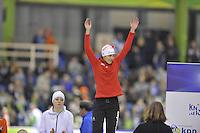 SCHAATSEN: HEERENVEEN: IJsstadion Thialf, 27-12-2015, KPN NK Afstanden, Eindpodium 1500m Dames, Marrit Leenstra, ©foto Martin de Jong