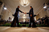 United States President Barack Obama and President Hu Jintao of China shake hands at the conclusion of their joint press conference in the East Room of the White House, Wednesday, January 19, 2011. .Mandatory Credit: Chuck Kennedy - White House via CNP