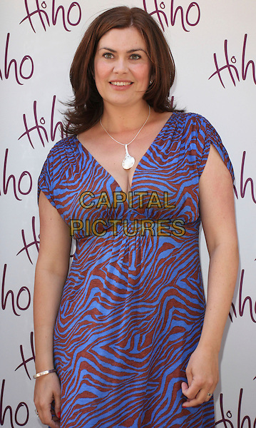 AMANDA LAMB .Launch Party for Hiho 'Lost and Found' jewellery range at Soho House, London, UK, May 26th 2009..half length blue purple brown zebra animal print dress silver necklace cleavage .CAP/ROS.©Steve Ross/Capital Pictures