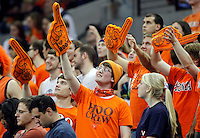Virginia  fans reacts during the game Tuesday in Charlottesville, VA. Virginia defeated Virginia Tech73-55.