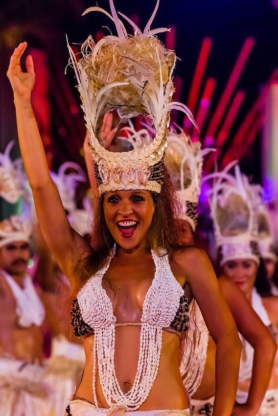 Hitireva dance group performing during the Heiva i Tahiti (July cultural festival), Place Toata, Papeete, Tahiti, French Polynesia.