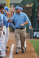 Myrtle Beach Pelicans trainer Jeff Bodenhamer being introduced before the opening game of the season against the Wilmington Blue Rocks at BB&T Coastal Field in Myrtle Beach, SC on April 8, 2011.   Photo By Robert Gurganus/Four Seam Images