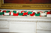 """The 2016 White House Christmas decorations are previewed for the press at the White House in Washington, DC on Tuesday, November 29, 2016. On the mantle, a first-of-its-kind LEGO paper chain measuring approximately 18 feet long will hang alongside LEGO """"gingerfriends"""", built from 4,900 LEGO bricks. The first lady's office released the following statement to describe those decorations, """"This year's holiday theme, 'The Gift of the Holidays,' reflects on not only the joy of giving and receiving, but also the true gifts of life, such as service, friends and family, education, and good health, as we celebrate the holiday season.""""<br /> Credit: Ron Sachs / CNP"""