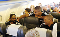 Wednesday 07 August 2013<br /> Pictured L-R: Nathan Dyer, Wayne Routledge and Ashley Williams en route to Malmo.<br /> Re: Swansea City FC travelling to Sweden for their Europa League 3rd Qualifying Round, Second Leg game against Malmo.