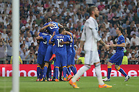 Juventus players celebrating goal of Morata