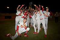 The Johnson City Cardinals celebrate after winning the 2019 Appalachian League Championship by defeating the Burlington Royals 8-6 at Burlington Athletic Stadium on September 4, 2019 in Burlington, North Carolina. (Brian Westerholt/Four Seam Images)
