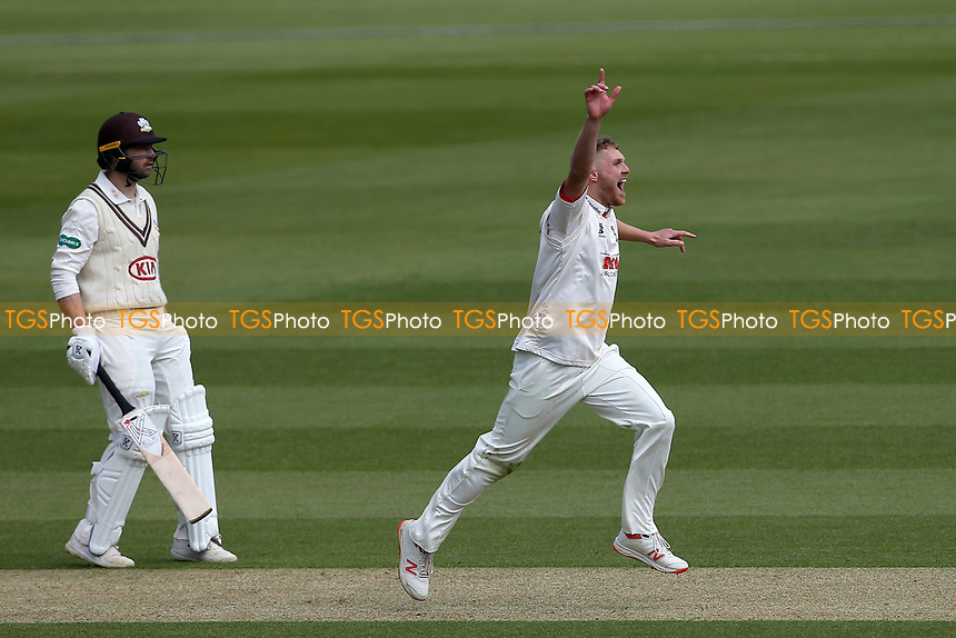 Jamie Porter of Essex celebrates taking the wicket of Rory Burns during Surrey CCC vs Essex CCC, Specsavers County Championship Division 1 Cricket at the Kia Oval on 11th April 2019