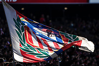 7th March 2020; Wanda Metropolitano Stadium, Madrid, Spain; La Liga Football, Atletico de Madrid versus Sevilla; The Atletico flag flutters