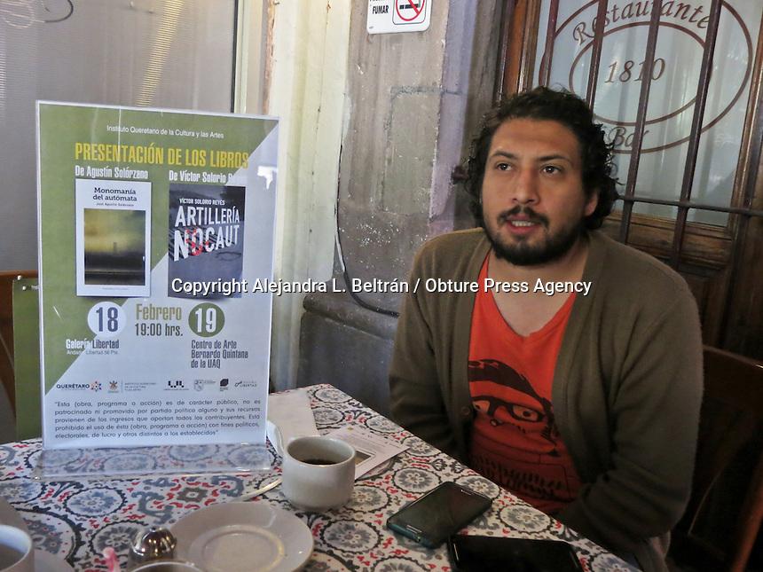 """Querétaro, Qro. 18 de febrero 2016. El autor Agustín Solórzano presentará esta tarde su libro """"Monotonía del autómata"""" en Galería Libertad. Foto: Alejandra L. Beltrán / Obture Press Agency"""