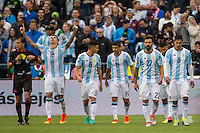 Seattle, WA - Tuesday June 14, 2016: Argentina defender Victor Cuesta (15)celebrates his goal during a Copa America Centenario Group D match between Argentina (ARG) and Bolivia (BOL) at CenturyLink Field