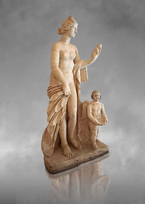 Roman marble sculpture of Aphrodite (Venus) of the Venus Felix Type , copied from a  2nd to 1st century BC Hellanistic Greek original, inv 6300 Farnese Collection, Naples Museum of Archaeology, Italy