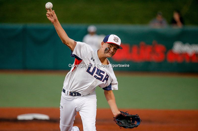 ABERDEEN, MD - AUGUST 06: Myles Mayovsky #13 of Kennewick (WA) pitches against Japan in the 1st inning in the World Championship game between Japan and Team USA (Pacific Northwest) during the Cal Ripken World Series at The Ripken Experience Powered by Under Armour on August 6, 2016 in Aberdeen, Maryland. (Photo by Ripken Baseball/Eclipse Sportswire/Getty Images)