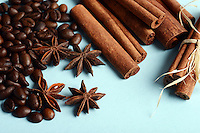 Spices - coffee , anise stars , cinnamon
