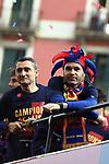League Santander 2017/2018.<br /> Rua de Campions FC Barcelona.<br /> Ernesto Valverde &amp; Andres Iniesta.