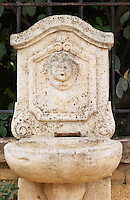 A fountain with a cherub. Chateau de Beaucastel, Domaines Perrin, Courthézon Courthezon Vaucluse France Europe