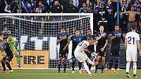 SAN JOSE, CA - JULY 16: Sandro Ramírez Castillo  #20 of Real Valladolid takes a free kick during a friendly match between the San Jose Earthquakes and Real Valladolid on July 16, 2019 at Avaya Stadium in San Jose, California.