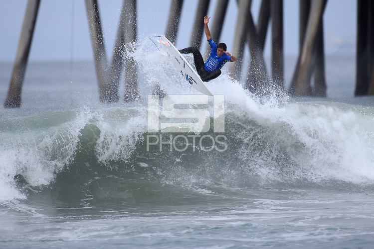 Huntington Beach, CA - Sunday July 30, 2017: Kaito Kino during a Qualifying Series (QS) trials round heat in the 2017 Vans US Open of Surfing on the South side of the Huntington Beach pier.