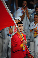 Aug. 8, 2008; Beijing, CHINA; China flag bearer Yao Ming leads his teammates into the stadium during the opening ceremonies for the 2008 Beijing Olympic Games at the National Stadium. Mandatory Credit: Mark J. Rebilas-