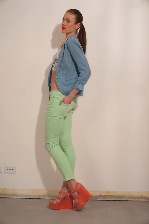 Coloured Jeans for Sunday Fashion, Megan Ford of Pride Models.