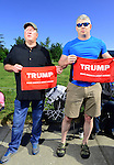 "Donald Trump supporters Dan Thompson, left, and Scott Holen, both of Lynden. ""This is a once in a lifetime deal,"" Holen said. ""I've been so disillusioned with the whole process for so long I didn't have a reason to participate until now."" Photo by Daniel Berman/www.bermanphotos.com"