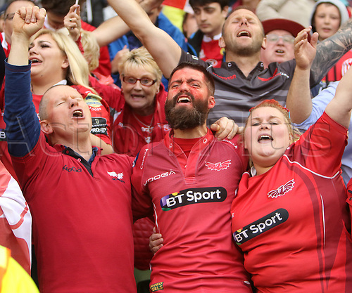 May 27th 2017, Aviva Stadium, Dublin, Ireland; Guinness Pro12 Rugby Final, Munster versus Scarlets;  Scarlet supporters celebrate their victory